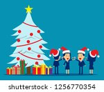 christmas with friends. concept ... | Shutterstock .eps vector #1256770354