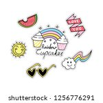 cute sticker  patches design set | Shutterstock . vector #1256776291