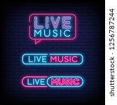 live music neon sign vector... | Shutterstock .eps vector #1256787244