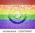 booby trap emblem on mosaic... | Shutterstock .eps vector #1256796967
