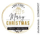merry christmas. typography.... | Shutterstock .eps vector #1256805457