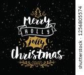 merry christmas. typography.... | Shutterstock .eps vector #1256805574