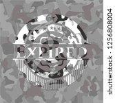 expired on grey camo texture | Shutterstock .eps vector #1256808004