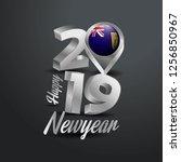 happy new year 2019 grey... | Shutterstock .eps vector #1256850967