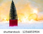 christmas tree in red gift box...   Shutterstock . vector #1256853904