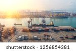 container ship in export and... | Shutterstock . vector #1256854381