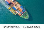 container ship in export and... | Shutterstock . vector #1256855221