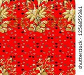 Seamless Golden Pattern. Red...