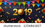 happy new year 2019 poster or... | Shutterstock .eps vector #1256861827
