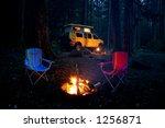 Camping with 4x4 RV van at Mt.Rainier State Park, WA - stock photo
