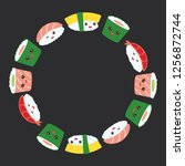 kawaii funny sushi set with... | Shutterstock . vector #1256872744