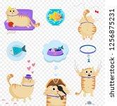 vector set of cute cartoon... | Shutterstock .eps vector #1256875231