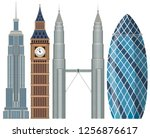 set of world famous building... | Shutterstock .eps vector #1256876617