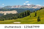 View of high alpine scenery in the San Juan Mountains along the Colorado Trail. - stock photo