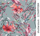 summer flowers seamless pattern.... | Shutterstock . vector #1256899384