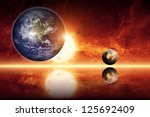 Abstract scientific background - planet earth, big sun, small exploding planet, red galaxy. Elements of this image furnished by NASA/JPL-Caltech - stock photo