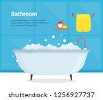cartoon bathroom bathtub card... | Shutterstock .eps vector #1256927737