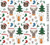 seamless pattern with forest...   Shutterstock .eps vector #1256934451