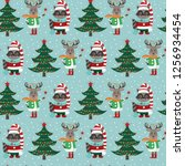 seamless pattern with forest...   Shutterstock .eps vector #1256934454