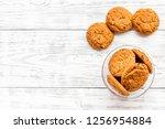 homemade oatmeal cookies in... | Shutterstock . vector #1256954884