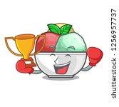 boxing winner sorbet ice with...   Shutterstock .eps vector #1256957737