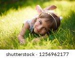 cute little girl with... | Shutterstock . vector #1256962177