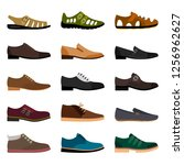 men shoes isolated on white... | Shutterstock . vector #1256962627