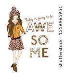 leopard patterned girl  fashion ... | Shutterstock .eps vector #1256965951