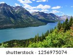 the spectacular peaks, lake and forests of waterton lakes national park and glacier national park, as seen from the goat haunt overlook, in goat haunt, montana