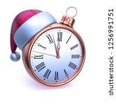 clock face christmas ball...   Shutterstock . vector #1256991751