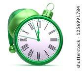 midnight clock face christmas...   Shutterstock . vector #1256991784