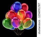 birthday party helium balloons...   Shutterstock . vector #1256991787