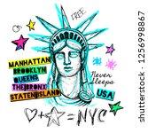 new york  t shirt design ... | Shutterstock .eps vector #1256998867