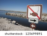 No Fishing Sign At The Salton...