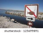 No Fishing Sign At The Salton...
