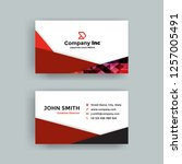 red abstract business card | Shutterstock .eps vector #1257005491