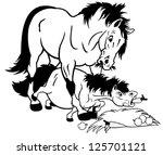 Cartoon Horse And Pony Black...