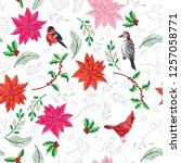 seamless pattern christmas...   Shutterstock . vector #1257058771