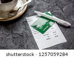 credit card for paying  coffee...   Shutterstock . vector #1257059284