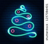 neon abstract christmas tree ... | Shutterstock .eps vector #1257086401