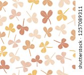 hand drawn clover seamless...   Shutterstock . vector #1257089311