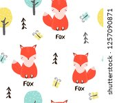 seamless pattern with cute fox... | Shutterstock .eps vector #1257090871