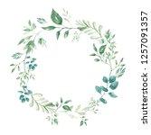 cute watercolor wreath hand... | Shutterstock . vector #1257091357