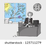 office girl dreaming about love | Shutterstock .eps vector #125711279
