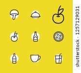 meal icons set with pizza ...