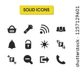 interface icons set with basket ...