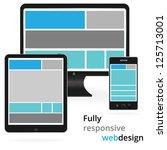 fully responsive web design in... | Shutterstock .eps vector #125713001