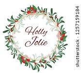 vector christmas wreath of red... | Shutterstock .eps vector #1257159184