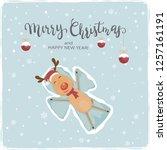 happy reindeer with santa's hat ... | Shutterstock .eps vector #1257161191