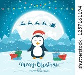 happy penguin with gifts and... | Shutterstock .eps vector #1257161194